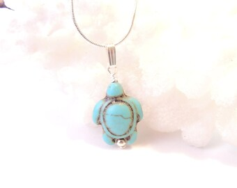 Turquoise Turtle Necklace, Cute Turtle Necklace, Turtle Jewelry, Turtle Lovers Gift, Nautical Beach Jewelry, Sea Turtle