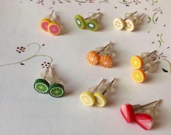 fruit earring studs small/large, watermelon, grapefruit, strawberry, lemon, lime, orange, banana, kiwi (gift for her, clay jewelry, Kawaii)