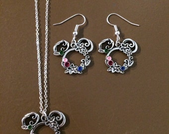 """floral charm necklace OR earrings with """"paint spot"""" embellishments in green, pink, maroon, and blue, fish extender gifts, floral charm."""