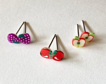 fruit slice earring studs small, sliced half apple, sliced whole apple or grapes (great gift for her, clay jewelry, Kawaii food charm)