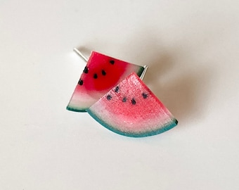 Watermelon fruit earring studs sliced watermelon (gift for her, clay jewelry, Kawaii) free shipping! Summertime sunny fresh watermelon!