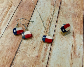 Texas flag necklace, earrings and pin set. Red white and blue, Texas star, Texas pride, lone star state.