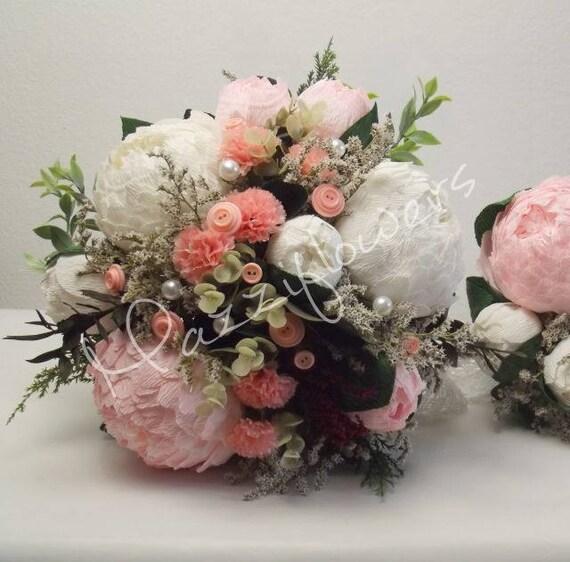 Brautjungfern Bouquet Hochzeitsstrauss Papier Etsy