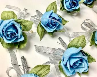 Bridal buttonhole, wedding buttonhole,bridal flower wedding,paper flower, roses flower bridal,corsage paper flower