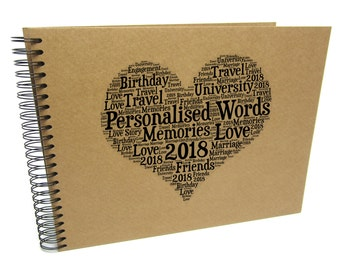 Personalised A3/A4/A5/Square Word Art, Scrapbook, Photo Album, Typography Cloud, Guestbook