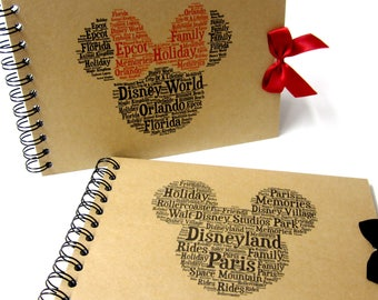 Personalised Autograph Book, Disney Land or Disney World, Mickey or Minnie Mouse