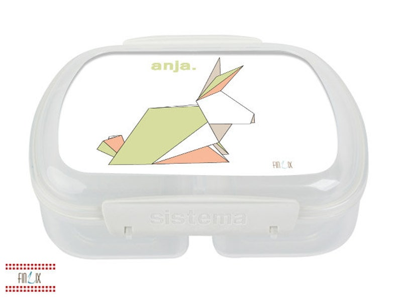 Origami bread tin lunchbox with great bunny and your own name image 0
