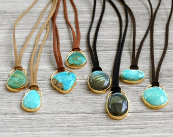 """Brass Gemstone Pendents on Suede Cording 