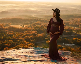 Maternity Gown for Photo Shoots •Fitted Maternity Dress • Florence Gown • Long Sleeve Maternity Dress •Bridesmaid Maternity