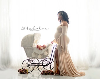 Maternity Gown for Photo Shoots •Mermaid style Maternity Dress • Melinda Gown • Bell Sleeve Maternity Dress