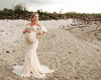 Maternity Gown for Photo Shoots •Mermaid style Maternity Dress • Sable Gown • Off Shoulder Maternity Dress