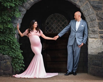 d62606c2e24f Cenna Gown • Fitted Maternity Gown • Off the shoulder gown • Flounce Top Maternity  Gown • Mermaid Style Gown • by Sew Trendy