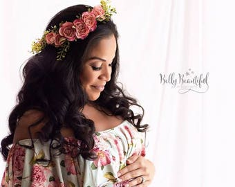 Brielle Floral Crown • Rose Flower Crown • Foliage Crown • Floral Halo • Wedding Crown | Ready To Ship