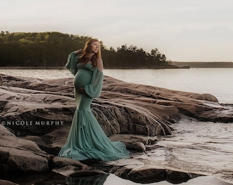 Maternity Gown for Photo Shoots •Mermaid style Maternity Dress • Calla Gown • Long Sleeve Maternity Dress