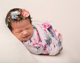 FLORAL NEWBORN WRAP • Stretch Knit Wrap • Swaddle Wrap • Baby Wrap • Multiple Colors Available • Newborn Photo Prop | Ready To Ship