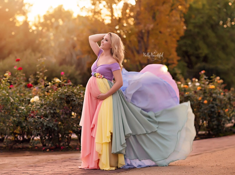 96a6c654febab HOPE Gown {Pastel} • Rainbow Maternity Gown • Sheer Maternity Gown • Rainbow  Baby Gown • Rainbow Dress • Mult-Color Dress • Maternity Photos