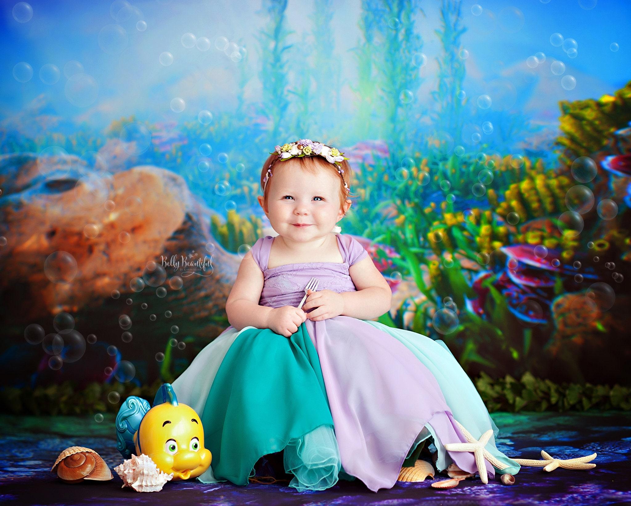 08887e2e3 Rielle Toddler Princess Dress • The Little Mermaid Toddler Dress • Princess  Baby Dress • Sitter Princess Dress • Princess Newborn Gown