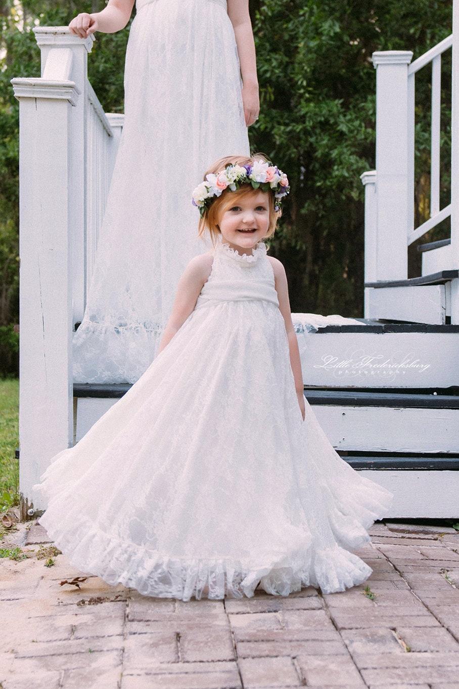Suri Gown Girls Lace Turtleneck Dress Girls Country Dress   Etsy