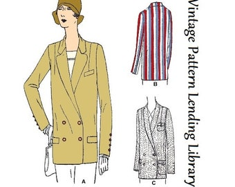 d039716e48554f 1929 Ladies Box-Coat Blazer - Reproduction Sewing Pattern  Z2419
