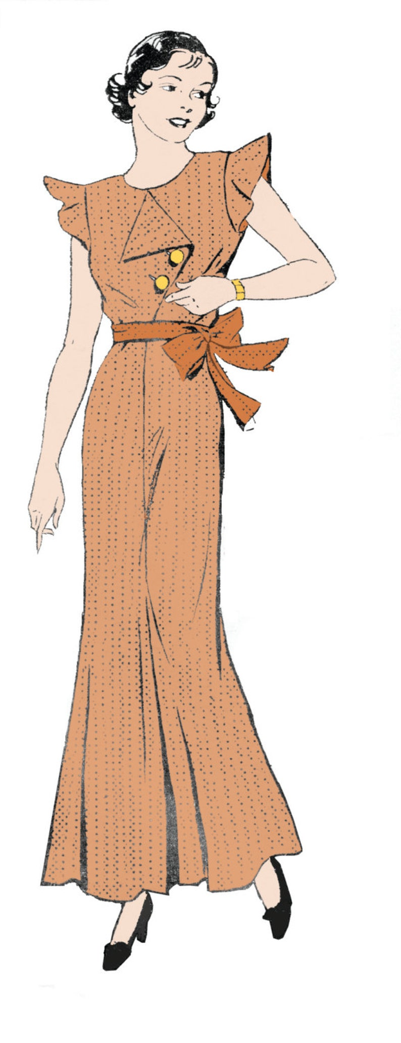1930s Wide Leg Pants and Beach Pajamas 1930s Ladies Beach Pajamas - Loungewear - Reproduction Sewing Pattern #T1536 - 36 Inch Bust $19.00 AT vintagedancer.com