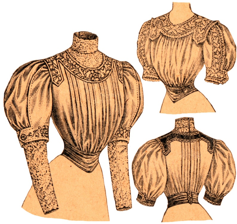Edwardian Sewing Patterns- Dresses, Skirts, Blouses, Costumes 1900s Ladies Blouse With Tucked Front - Reproduction Sewing Pattern #E9322 - 36 Inch Bust $17.00 AT vintagedancer.com