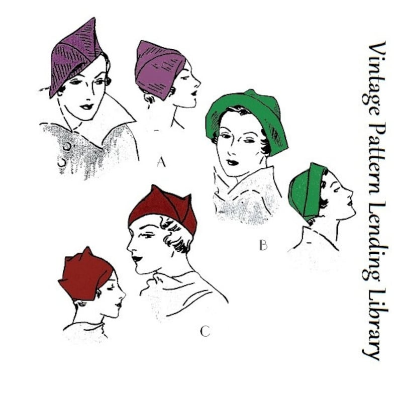 1930s Ladies Oddly Shaped Hats  Reproduction 1934 Sewing image 0
