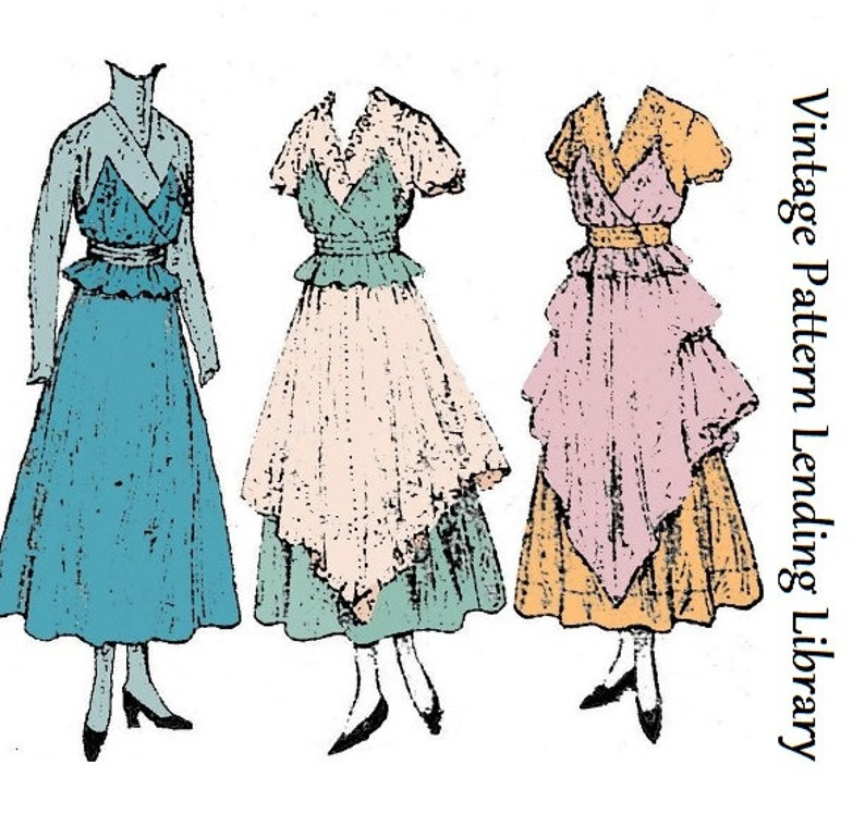 Edwardian Sewing Patterns- Dresses, Skirts, Blouses, Costumes 1918 Ladies Dinner Dress With Optional Tunic - Reproduction Sewing Pattern #E8744 $20.00 AT vintagedancer.com