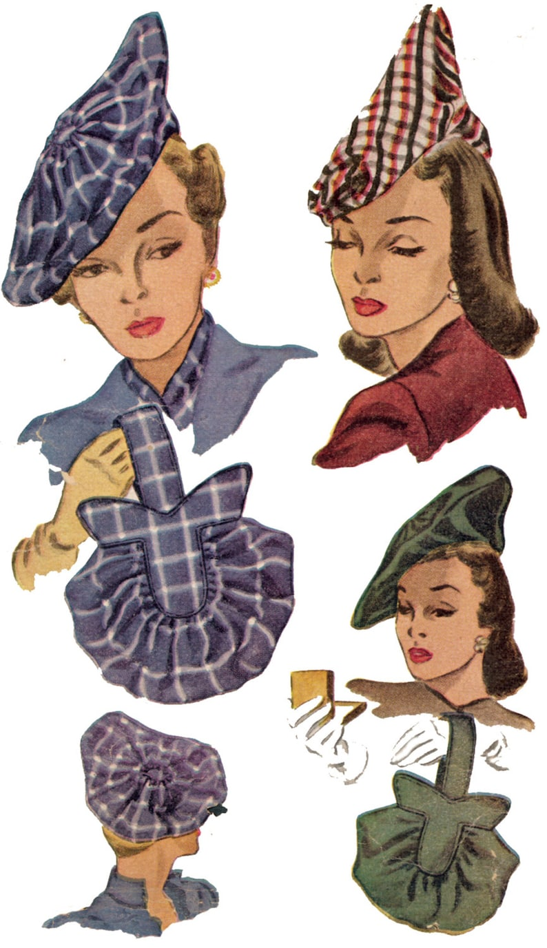 1940s Hats History 1940s Ladies Hats and Purses - Reproduction 1947 Sewing Pattern #H1318 $14.00 AT vintagedancer.com