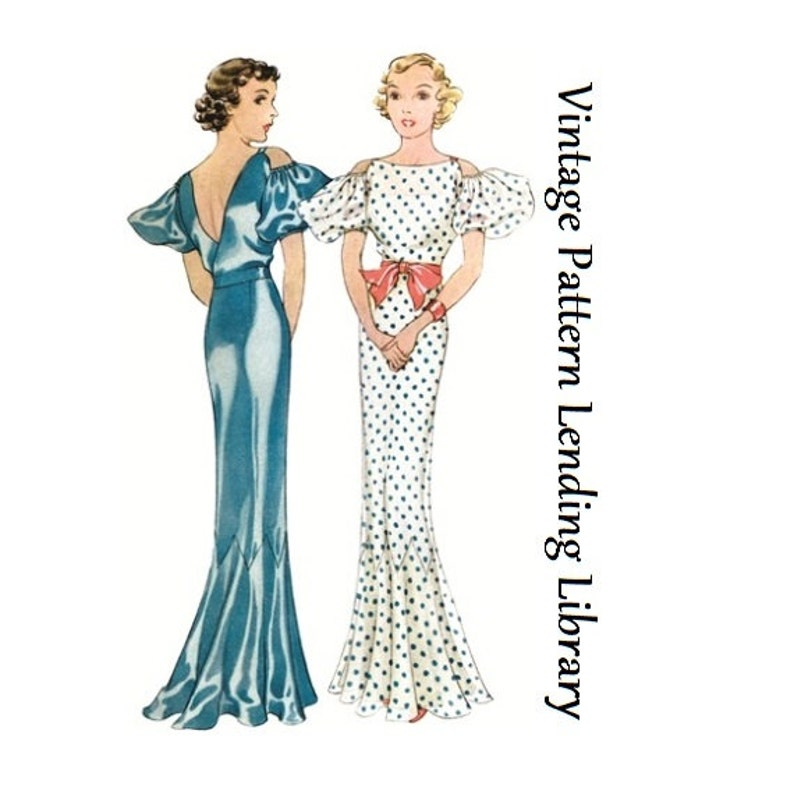 1930s Ladies Evening Gown With Drop Sleeves  Reproduction image 0