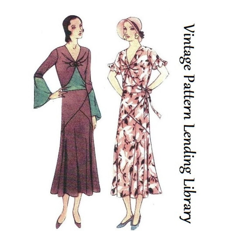 1930s Ladies Dress With Asymmetrical Detailing  Reproduction image 0
