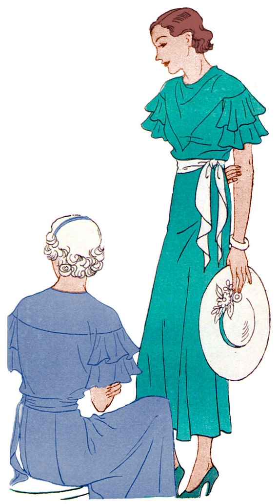 1930s Sewing Patterns- Dresses, Pants, Tops 1934 Ladies Dress With Flounced Sleeves - Reproduction Sewing Pattern #T2677 $17.00 AT vintagedancer.com