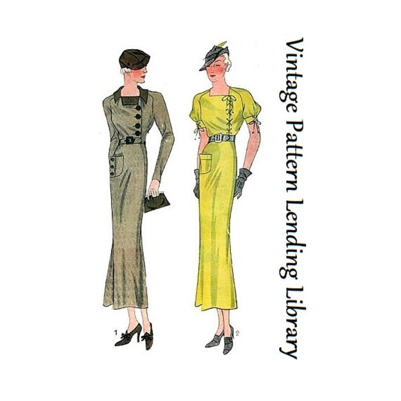 1930s Ladies Day Dress with Left Closure  Reproduction 1934 image 0