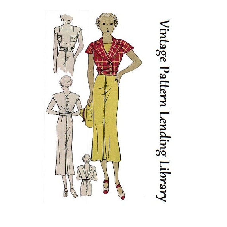 1930s Ladies Sports Dress With Jacket  Reproduction 1936 image 0