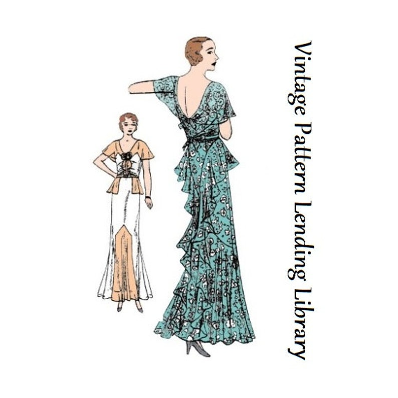 1930s Ladies Slip-Over Gown With Cascades  Reproduction 1931 image 0