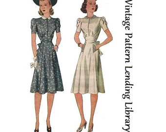 1940s Ladies Day Dress With Raised Waistline - Reproduction 1941 Sewing Pattern #F3666 - 34 Inch Bust