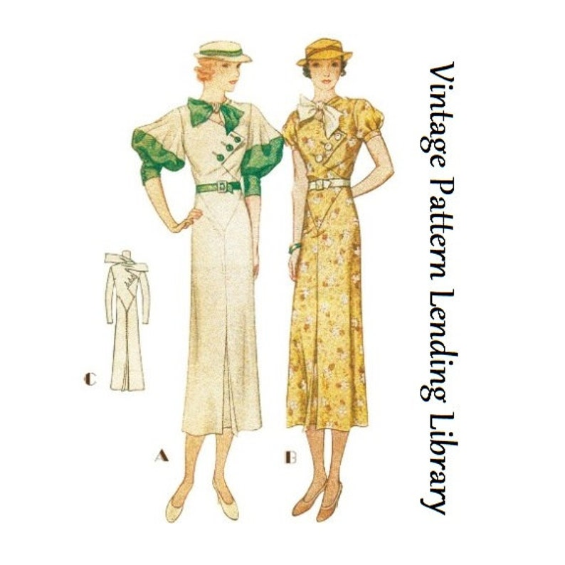 1930s Ladies Day Dress With Puff Sleeve Option  Art Deco ca. image 0