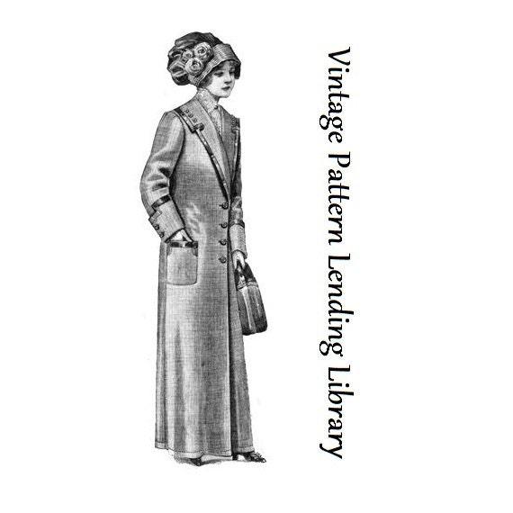 1912 Damen Duster Mantel - Reproduktion Schnittmuster #E0402