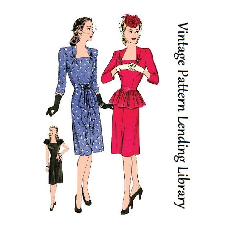 1940s Ladies Cocktail Dress  Reproduction 1944 Sewing Pattern image 0