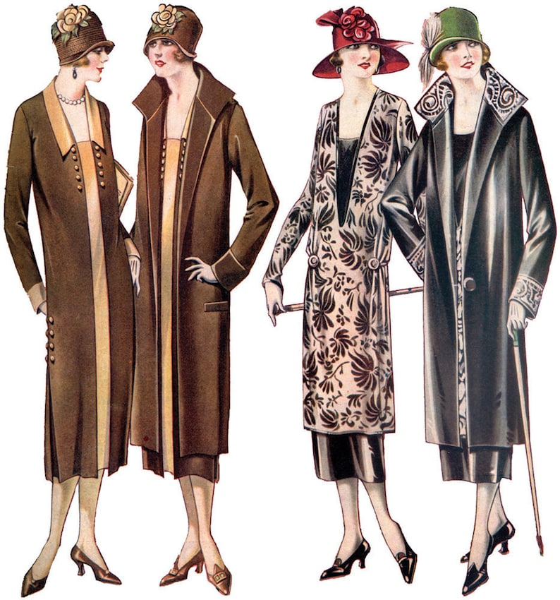 1920s Coats, Furs, Jackets and Capes History 1920s Ladies Coat and Dress Ensemble - Reproduction 1925 Sewing Pattern #Z0551 - 36 Inch Bust $23.00 AT vintagedancer.com