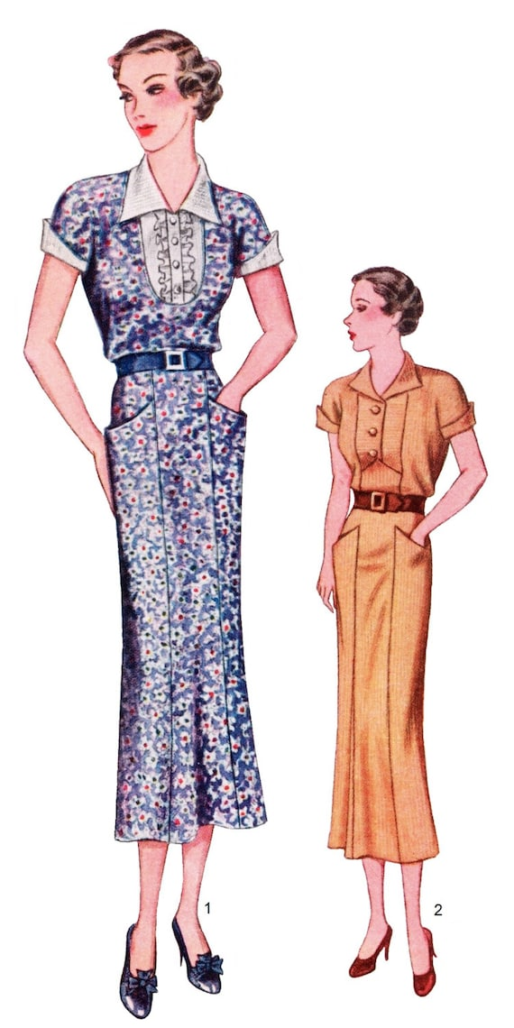 1930s Fashion Colors & Fabric 1931 Ladies Day Dress With Two Style Necklines - Reproduction Sewing Pattern #T8116 $17.00 AT vintagedancer.com
