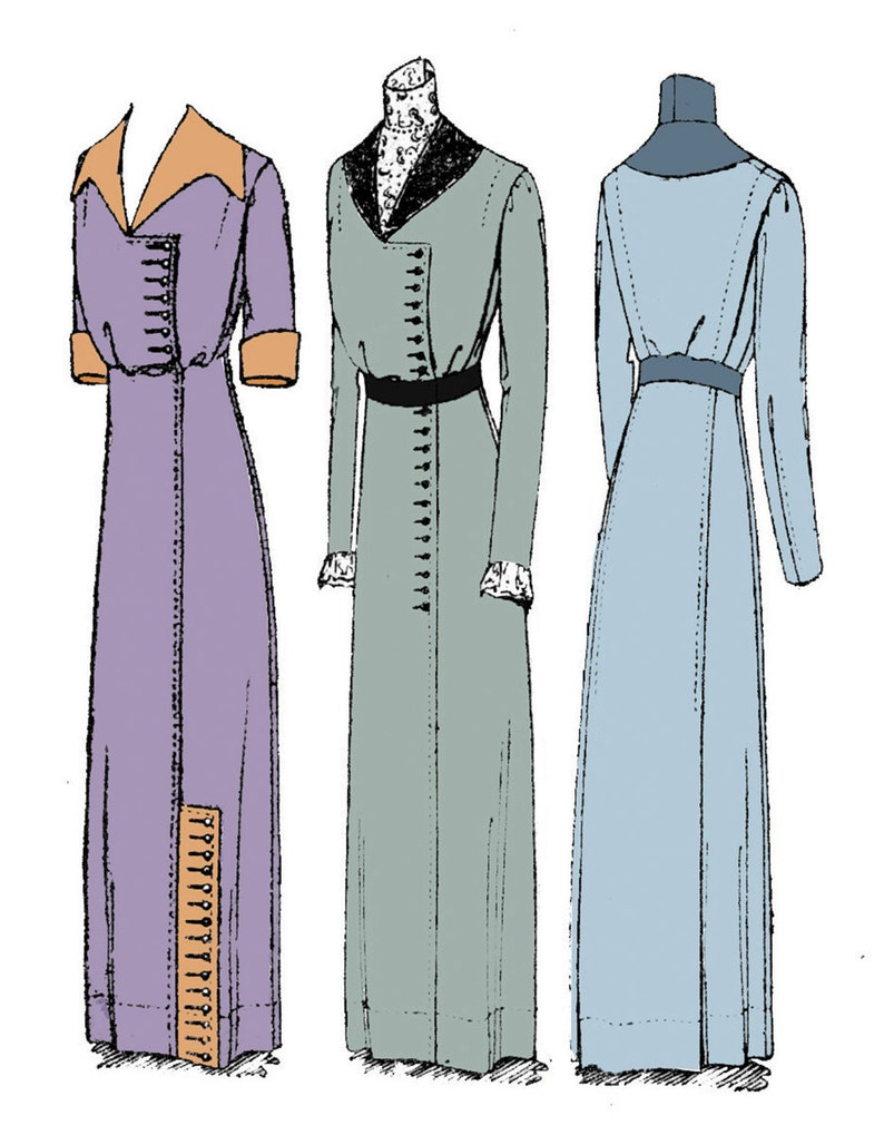 Edwardian Sewing Patterns- Dresses, Skirts, Blouses, Costumes 1911 Ladies Dress with Two Collar Options - Reproduction Sewing Pattern #E4929 - 36 Inch Bust $20.00 AT vintagedancer.com