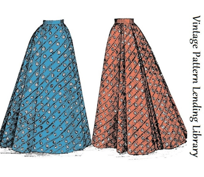 Victorian Skirts   Edwardian Skirts     1890s Ladies Skirt With Back Pleats - Fantail Skirt - 1897 Reproduction Sewing Pattern #E1491 - 22 Inch Waist - Victorian Era $17.00 AT vintagedancer.com