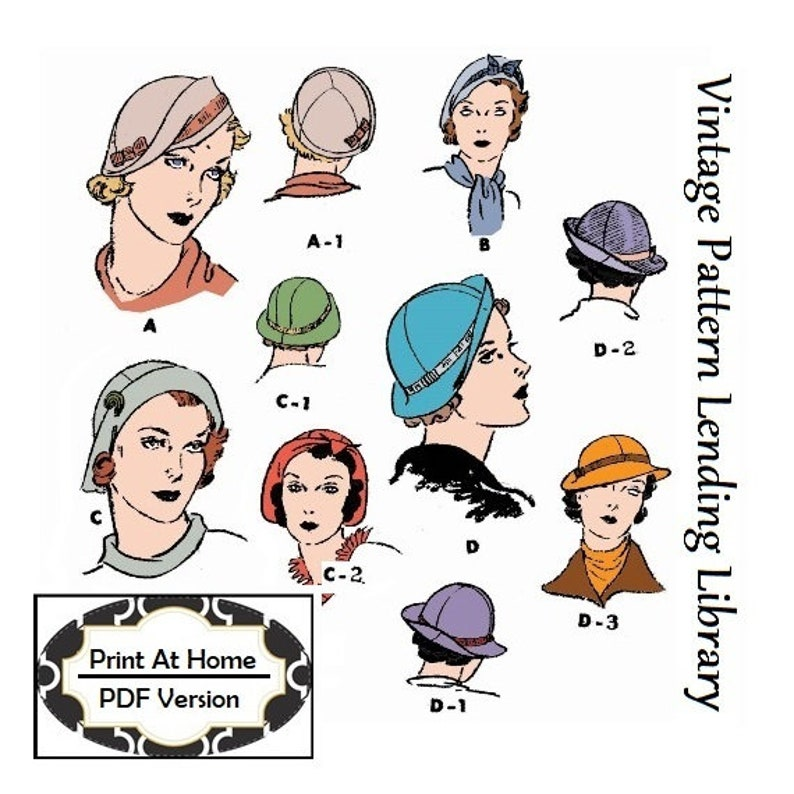 1930s Style Hats   Buy 30s Ladies Hats 1930s Ladies Hats In Several Styles - INSTANT DOWNLOAD - Reproduction 1934 Sewing Pattern #H5685 - PDF - Print At Home  AT vintagedancer.com