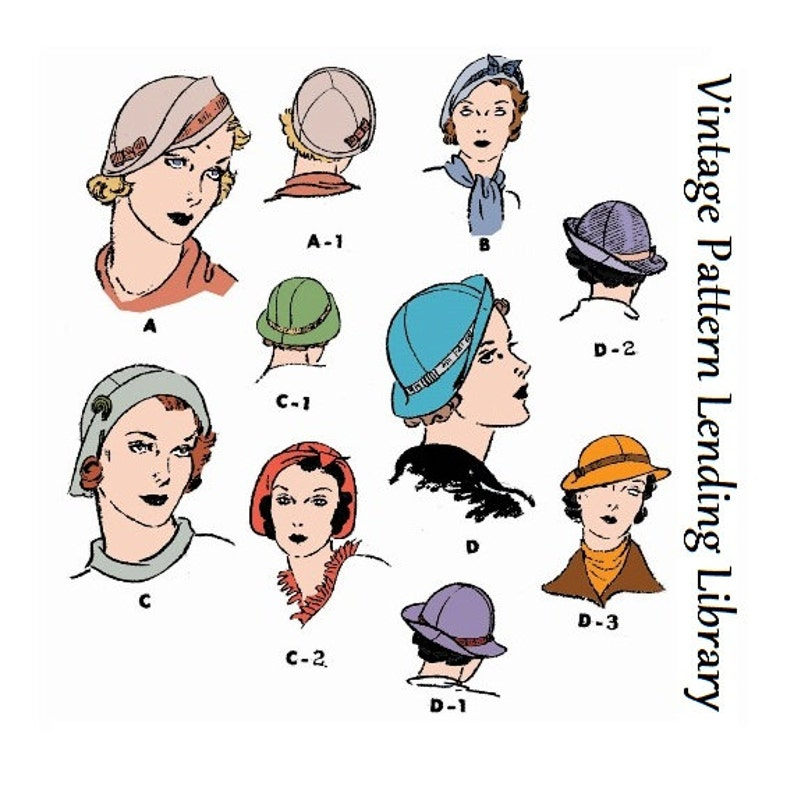 1930s Ladies Hats In Several Styles  Reproduction 1934 Sewing image 0
