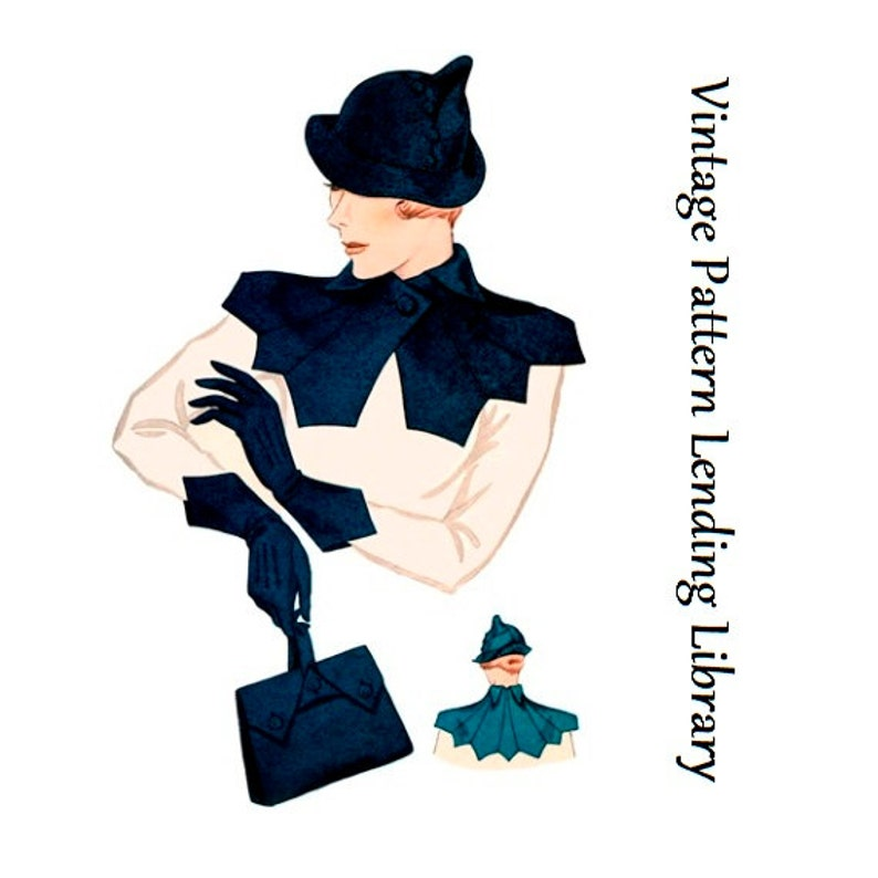 Vintage Hats | Old Fashioned Hats | Retro Hats 1930s Ladies Hat Gloves Collar And Purse Ensemble - Reproduction 1934 Sewing Pattern #H1353 $14.00 AT vintagedancer.com