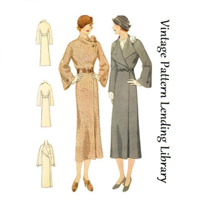 1930s Ladies Coat With Flower Accent  Reproduction 1932 image 0
