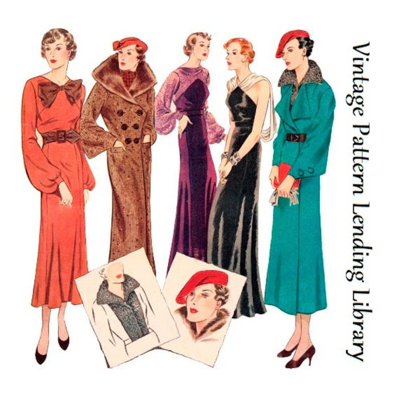 1930s Ladies Seven Piece Ensemble  Reproduction 1935 Sewing image 0