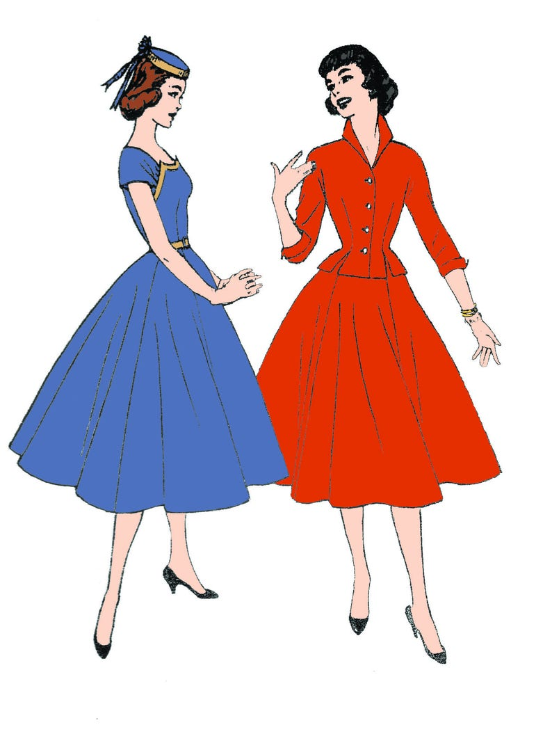 1950s Fabrics & Colors in Fashion 1954 Ladies Dress with Jacket - Reproduction Sewing Pattern #F7138 $18.00 AT vintagedancer.com