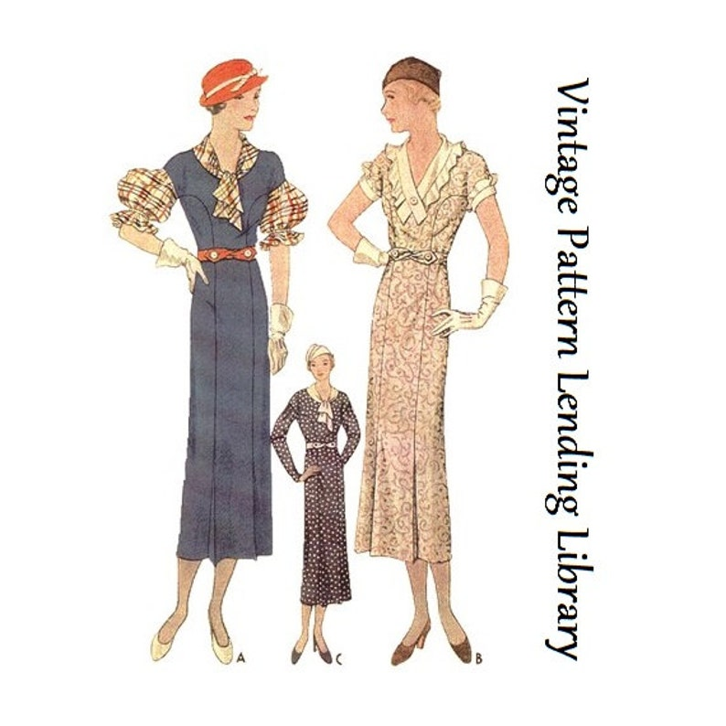 1930s Ladies Frock With Three Sleeve Options  Reproduction image 0