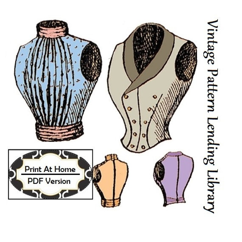 Victorian Blouses, Tops, Shirts, Vests, Sweaters     1890s Ladies Double Breasted & Full Vests - INSTANT DOWNLOAD - Reproduction 1897 Sewing Pattern #E0672 - 36 Inch Bust - PDF - Print at Home $10.00 AT vintagedancer.com